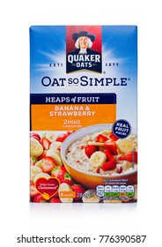 LONDON, UK - DECEMBER 15, 2017: Box of Quaker Oats porridge with fruits on white background. It has been owned by PepsiCo since 2001.
