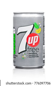LONDON, UK - DECEMBER 15, 2017: Aluminium can of 7UP lemonade soda drink on white background.This refreshment drink produce Pepsi company.