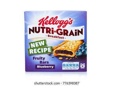 LONDON, UK - DECEMBER 15, 2017: Box of Kellogg's brand Nutri grain Soft Baked Breakfast Bars on white background. Made with Real Fruit and Whole Grains. Bleuberry.