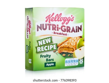 LONDON, UK - DECEMBER 15, 2017: Box of Kellogg's brand Nutri grain Soft Baked Breakfast Bars on white background. Made with Real Fruit and Whole Grains. Apple