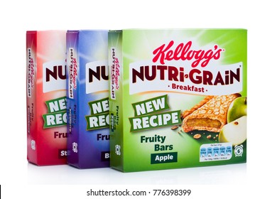 LONDON, UK - DECEMBER 15, 2017: Boxes of Kellogg's brand Nutri grain Soft Baked Breakfast Bars on white background. Made with Real Fruit and Whole Grains.