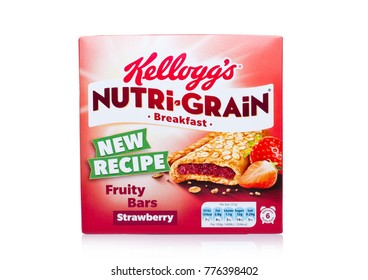 LONDON, UK - DECEMBER 15, 2017: Box of Kellogg's brand Nutri Grain Soft Baked Breakfast Bars on white background. Made with Real Fruit and Whole Grains. Strawberry