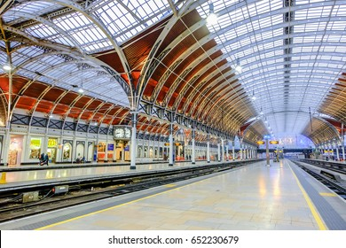 London, UK - December 18, 2016 : Interior architecture of Paddington station a famous railway station in central  London, United Kingdom.