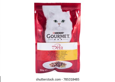 LONDON, UK - DECEMBER 18TH 2017: A studio shot of a sachet of Purina Gourmet cat food over a plain white background, on 18th December 2017.