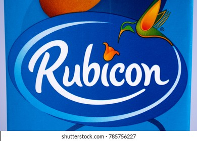 LONDON, UK - DECEMBER 18TH 2017: A close-up of the logo for Rubicon - the UK soft drink manufacturer, on 18th December 2017.