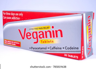 LONDON, UK - DECEMBER 18TH 2017: A close-up of a packet of Veganin tablets, on 18th December 2017.  Veganin are a brand of pain relief pills which contain paracetamol, caffeine and codeine.