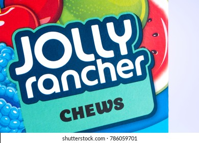 LONDON, UK - DECEMBER 18TH 2017: A close-up of the Jolly Rancher logo, on 18th December 2017.