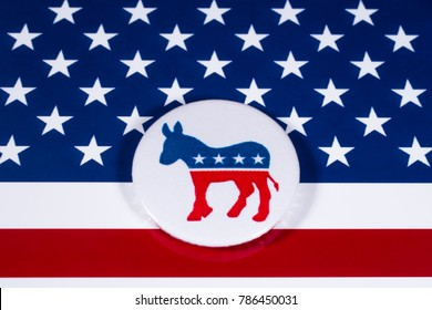 LONDON, UK - DECEMBER 18TH 2017: The Donkey symbol of the Democrat Party, with the American flag behind it, on 18th December 2017.