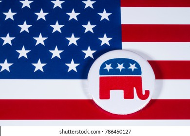 LONDON, UK - DECEMBER 18TH 2017: The Elephant symbol of the Republican Party, with the American flag behind it, on 18th December 2017.