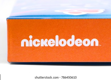 LONDON, UK - DECEMBER 18TH 2017: The Nickelodeon logo, pictured on the spine of a childrens book, on 18th December 2017.   Nickelodeon is an American cable and satellite television network.