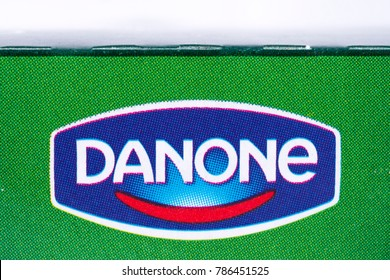 LONDON, UK - DECEMBER 18TH 2017: A close-up of the Danone logo on the packaging of one of its products, on 18th December 2017.  Danone is a French food products corporation.