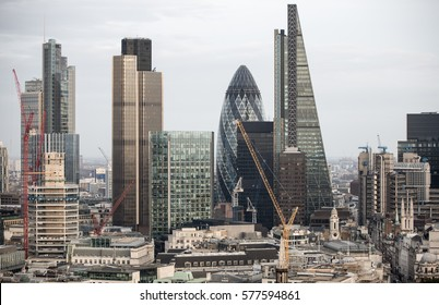 London, UK - December 19, 2016: City of London business aria view at sunset. View includes Gherkin and modern skyscrapers of leading financial companies