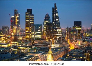 London, UK - December 19, 2016: City of London business aria view at night. City of London the leading financial centre in the Europe.