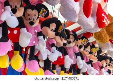 London, UK - December 2, 2017 - Stuffed toys on display awarded as winning prizes at Christmas funfair Winter Wonderland