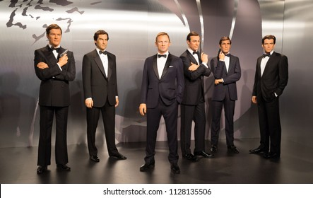 London, UK - December 2015: Madame Tussaud's Waxwork Museum, all the James Bond Actors on Display