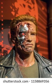 London, UK - December 2015: Madame Tussaud's Waxwork Museum, Arnold Schwarzenegger, The Terminator, lifelike model