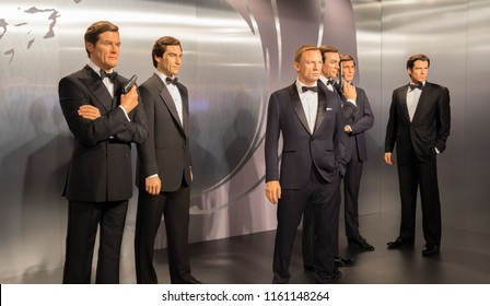 London, UK - December 2015: Madame Tussaud's Waxwork Museum, all the a James Bond actors on display, life like models