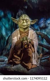 London, UK - December 2015: Madame Tussaud's Waxwork Museum, Star Wars display, Jedi Master Yoda in Degobah setting