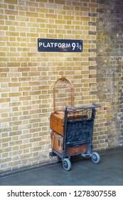 London, UK - December 2018: Harry Potter 'Platform 9 3/4' at Kings Cross Station
