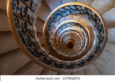 London UK. December 2019. The Lutyen's stair, spiral stone staircase designed by Edwin Lutyens in the 1920s, located in the Ned Hotel, formerly the Midland Bank building at 27 Poultry, London.
