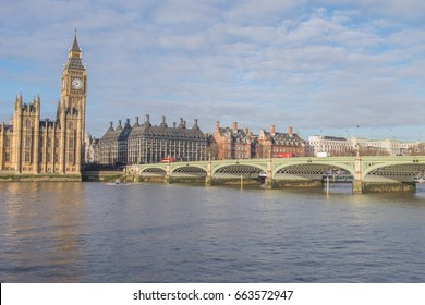 London, UK - December 22, 2016 : Big Ben, Westminster Bridge and Houses of Parliament near the River Thames in London, England.