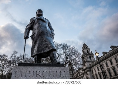 LONDON, UK - DECEMBER 23, 2017: The Statue of Winston Churchill in Parliament Square, Westminster, London.