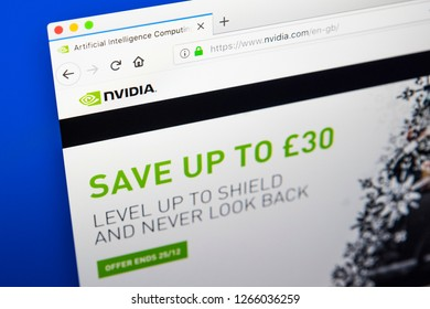 London, UK - December 23rd 2018: The homepage of the official website for Nvidia - the American technology company.