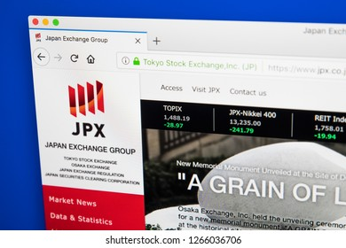 London, UK - December 23rd 2018: The homepage of the official website for the Japan Exchange Group - the Japanese financial services corporation that operates multiple securities exchanges.