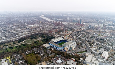 London, UK - DECEMBER 25 : Stamford Bridge Home Ground Stadium of Chelsea Football Club 'The Blues' Aerial Helicopter View on December 25, 2017. Iconic Famous Modern Soccer Arena in Fulham, England