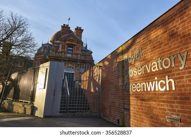 LONDON, UK - DECEMBER 28: Entrance to the Royal Observatory Greenwich, next to the meridian line. December 28, 2015 in London.