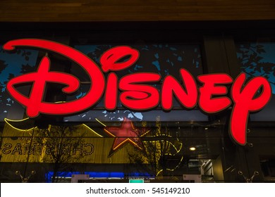LONDON, UK - DECEMBER 29TH 2016: The Disney logo on the exterior of the Disney store on Oxford Street in London, on 29th December 2016.