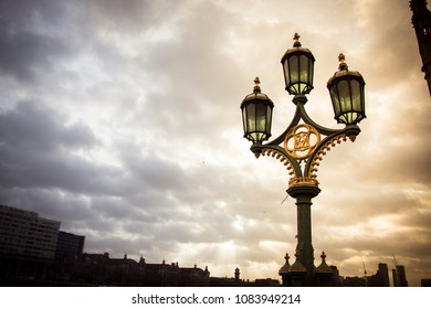 LONDON, UK - DECEMBER 30 2017: lantern on westminster bridge ove