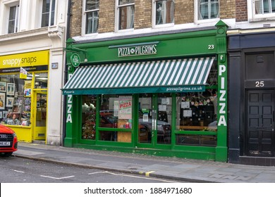 London, UK - December 30 2020: Pizza Pilgrims pizza restaurant in Covent Garden