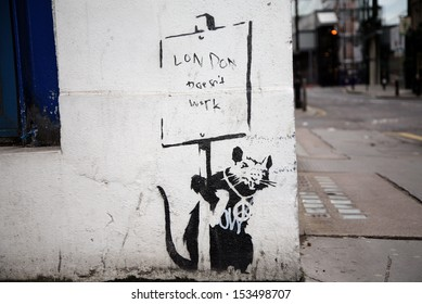 LONDON, UK - DECEMBER 31ST 2007: Banksy's 'London Doesn't Work' Graffiti located in the City of London on 31st December 2007.