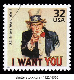 London, UK, December 4 2010 - 1998 United States of America cancelled postage stamp showing an image of  Uncle Sam from World War One  saying I want you