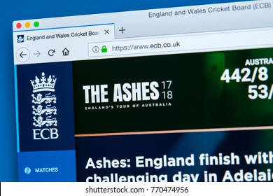 LONDON, UK - DECEMBER 4TH 2017: The homepage of the official website for the England and Wales Cricket Board - the governing body of cricket in England and Wales, on 4th December 2017.