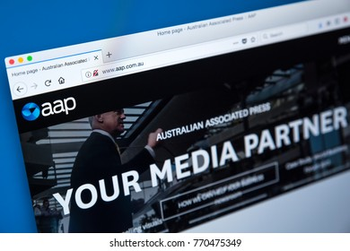 LONDON, UK - DECEMBER 4TH 2017: The homepage of the official website for the Australian Associated Press - the Australian news agency, on 4th December 2017.