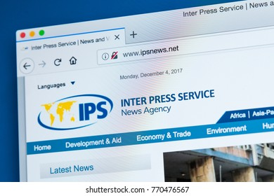 LONDON, UK - DECEMBER 4TH 2017: The homepage of the official website for Inter Press Service - the global news agency, on 4th December 2017.
