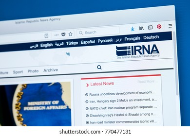 LONDON, UK - DECEMBER 4TH 2017: The homepage of the official website for The Islamic Republic News Agency - the official news agency of the Islamic Republic of Iran, on 4th December 2017.