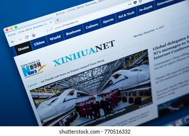 LONDON, UK - DECEMBER 4TH 2017: The homepage of the official website the Xinhua News Agency - the official press agency of the Peoples Republic of China, on 4th December 2017.