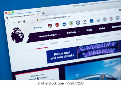 LONDON, UK - DECEMBER 4TH 2017: The homepage of the official website for the Premier League - the English professional league for mens association football clubs, on 4th December 2017.