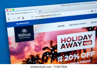 LONDON, UK - DECEMBER 4TH 2017: The homepage of the official website for Hilton Hotels and Resorts, on 4th December 2017.