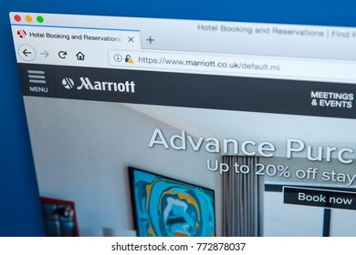 LONDON, UK - DECEMBER 4TH 2017: The homepage of the official website for Marriott International Inc - the American multinational hospitality company, on 4th December 2017.