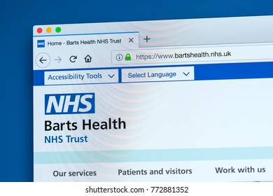 LONDON, UK - DECEMBER 4TH 2017: The homepage of the official website for the Barts Health NHS Trust, which operates in the City of London and East London, on 4th December 2017.