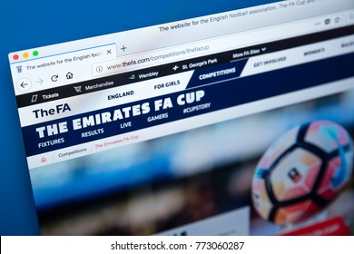 LONDON, UK - DECEMBER 4TH 2017: The homepage of the Emirates FA Cup on the official website for the English Football Association, on 4th December 2017.