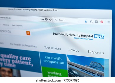 LONDON, UK - DECEMBER 4TH 2017: The homepage of the official website for the NHS-run Southend University Hospital, on 4th December 2017.