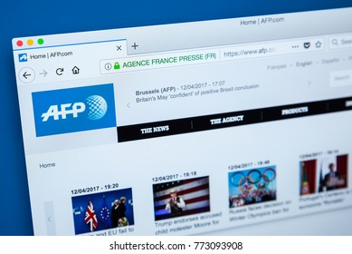 LONDON, UK - DECEMBER 4TH 2017: The homepage of the official website for the Agence France-Presse - the international news agency headquarted in Paris, on 4th December 2017.
