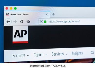 LONDON, UK - DECEMBER 4TH 2017: The homepage of the official website for The Associated Press - the American multinational news agency, on 4th December 2017.