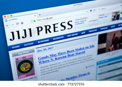 LONDON, UK - DECEMBER 4TH 2017: The homepage of the official website for Jiji Press - the wire service in Japan, on 4th December 2017.