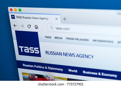 LONDON, UK - DECEMBER 4TH 2017: The homepage of the official website for the Russian News Agency TASS - the largest Russian news agency, on 4th December 2017.